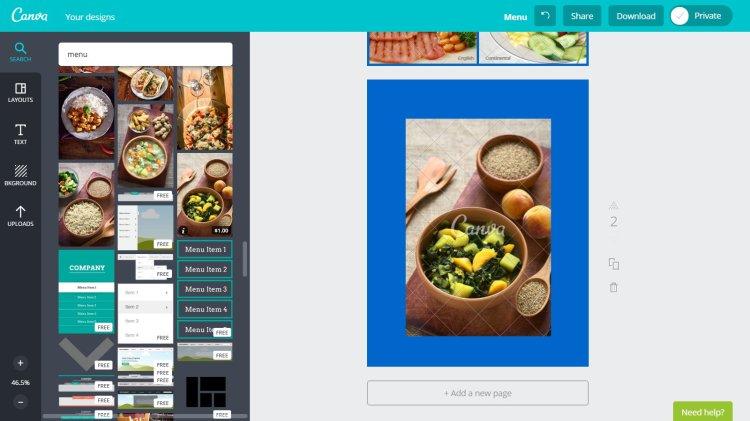 cerca paraula menu Canva