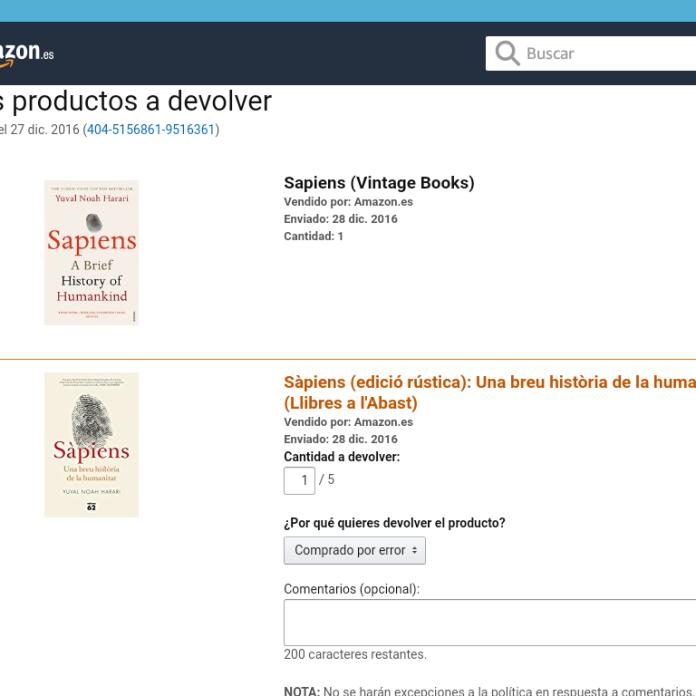 Amazon - Elige los productos a devolver