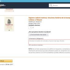 Amazon - Motivo de la devolución