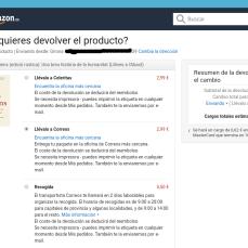 Amazon - Cómo quieres devolver el producto?